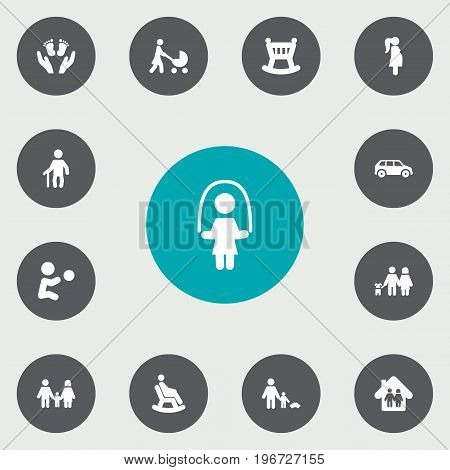Collection Of Playing, Relatives , Grandpa Elements.  Set Of 13 Relatives Icons Set.