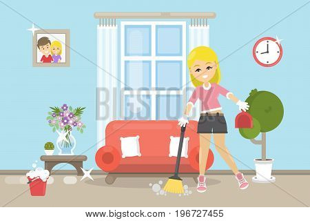 House cleaning illustration. Happy smiling woman do cleaning in the room.