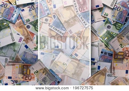 Overhead View Of Euro Money With An Empty Space.