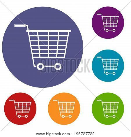 Empty supermarket cart with plastic handles icons set in flat circle red, blue and green color for web
