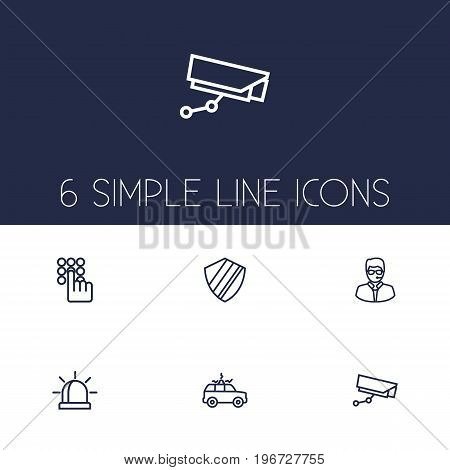 Collection Of Supervision, Alarm, Guy And Other Elements.  Set Of 6 Security Outline Icons Set.
