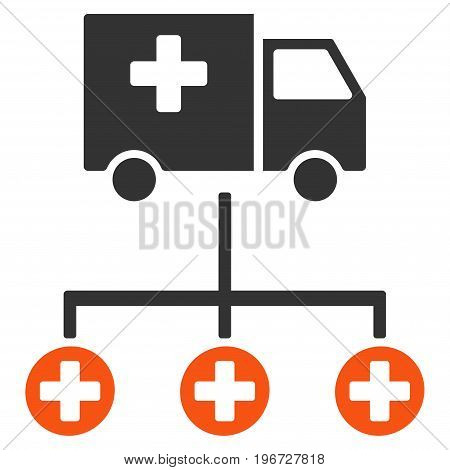 Medical Delivery Structure vector pictogram. Style is flat graphic symbol.