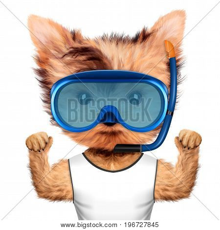 Funny animal in diving mask and t-shirt. Concept summer holidays, travel vacation concept. Realistic 3D illustration.