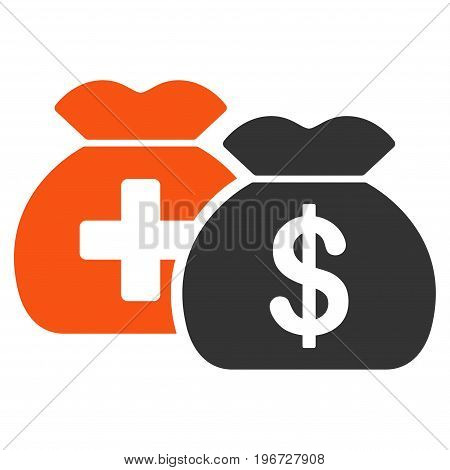 Medical Fund Bags vector pictogram. Style is flat graphic symbol.