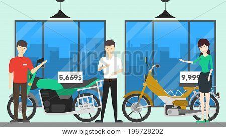 Motorcycle shop interior. People buy new bike from showroom.