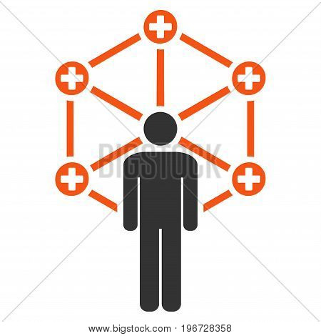 Medical Network Administrator vector pictograph. Style is flat graphic symbol.