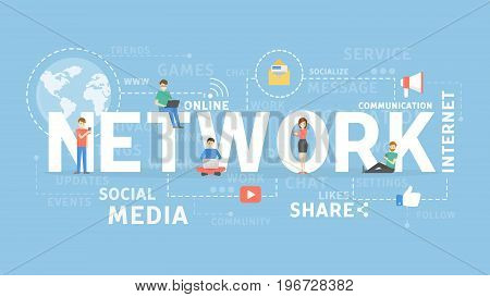 Network concept illustration. Idea of chatting, social media and more.