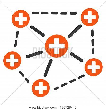 Medical Network Structure vector pictograph. Style is flat graphic symbol.
