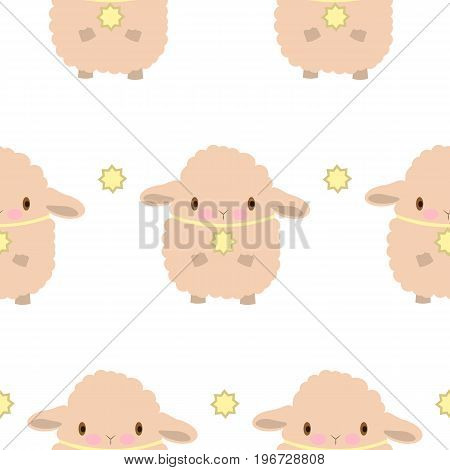 Seamless pattern with sheep. Vector flat illustration. White background. Emotions. Baby showerwrapping paper eid al fitr.