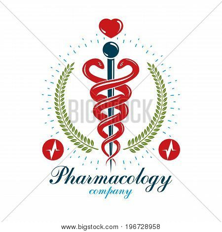 Pharmacy Caduceus icon medical logo created with heart shape and electrocardiogram chart symbol. Cardiology diagnosis clinic emblem for use in medicine and rehabilitation.