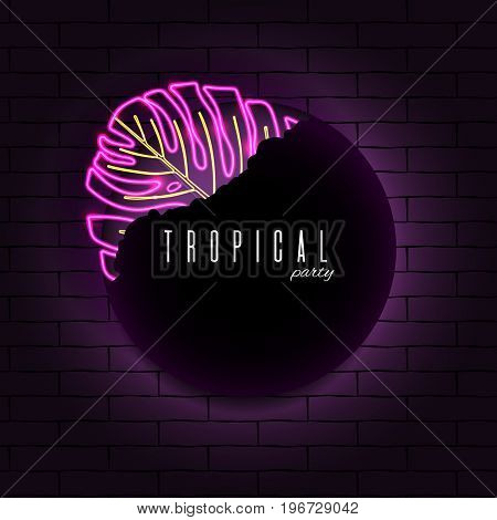 Glowing neon exotic tropical leaf dark background