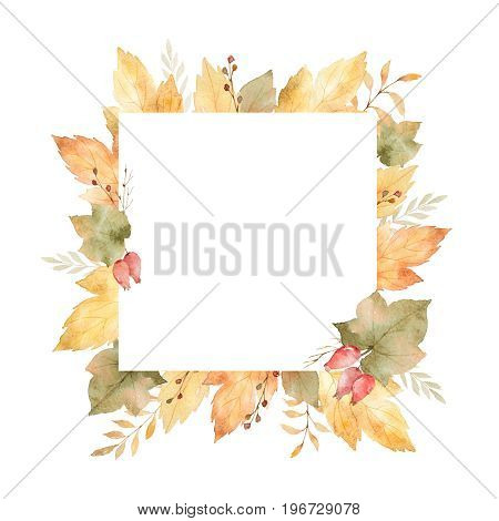 Watercolor square frame of leaves and branches isolated on white background. Autumn illustration