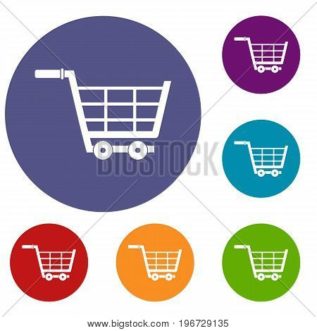 Large shopping trolley icons set in flat circle red, blue and green color for web