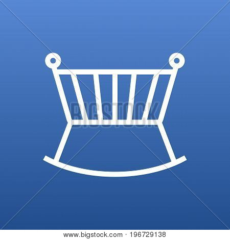 Vector Crib Element In Trendy Style.  Isolated Cot Outline Symbol On Clean Background.