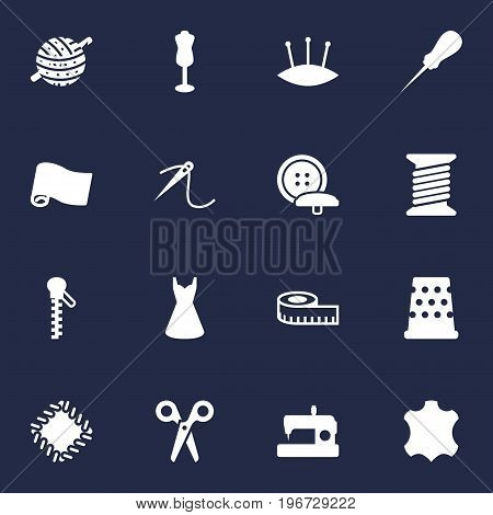 Collection Of Cutter, Seamstress, Roll And Other Elements.  Set Of 16 Stitch Icons Set.