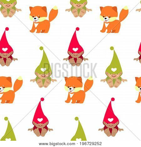 Vector seamless pattern with cute baby gnome.