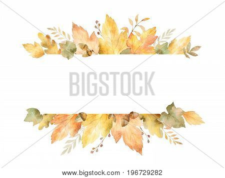 Watercolor banner of leaves and branches isolated on white background. Autumn illustration