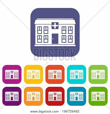 Hospital icons set vector illustration in flat style in colors red, blue, green, and other