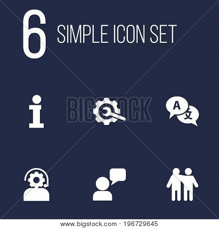 Collection Of Info, Technical, Gear And Other Elements.  Set Of 6 Support Icons Set.