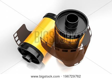 3d rendering top angle view of yellow film camera rolls isolated on white background with clipping paths.
