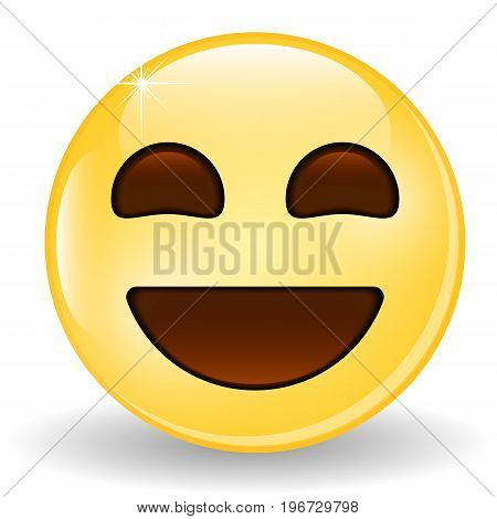 Laughing Emoticon. Smiling Emoji. Emoticon icon. Isolated vector illustration.