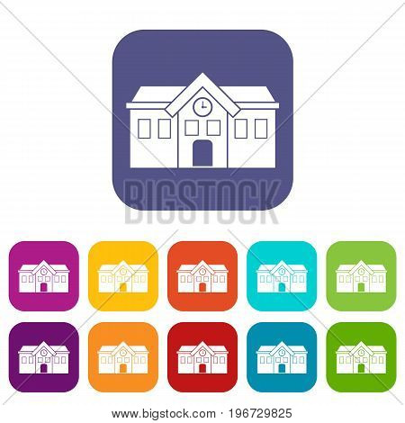 Chapel icons set vector illustration in flat style in colors red, blue, green, and other