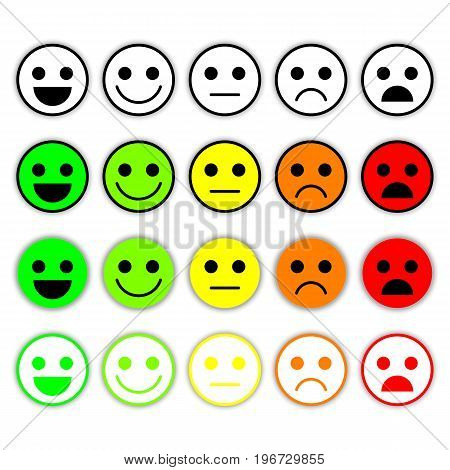 Set of Emoticons. Emoji level, rank, load. Excellent, good, normal, bad, awful. Isolated on white background.