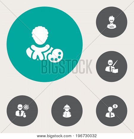 Collection Of Coder, Scholarly, Fireman And Other Elements.  Set Of 6 Position Icons Set.