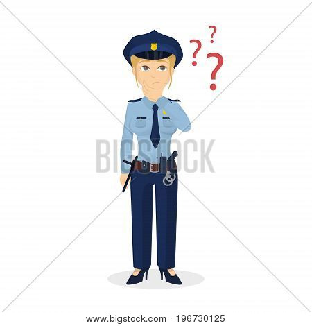 Policewoman with question marks. Isolated character on white backgrond.