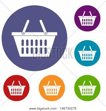 Plastic shopping basket icons set in flat circle red, blue and green color for web