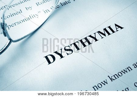 Page with title dysthymia or persistent depressive disorder (PDD).