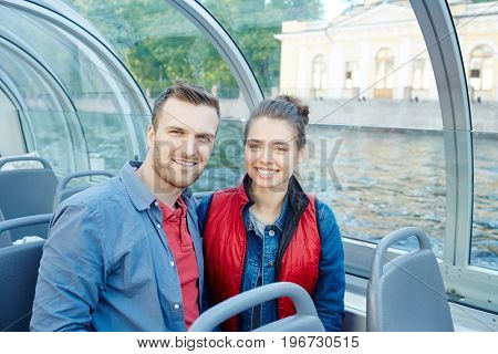 Affectionate couple having romantic voyage on vacation