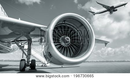 jet engine and starting airplane in the back