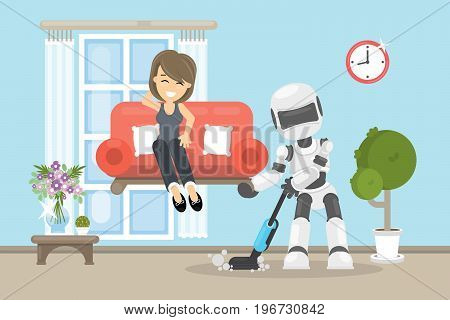 Robot cleaning house and vacuuming. Holds the sofa with woman.