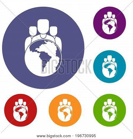 World planet and people icons set in flat circle red, blue and green color for web