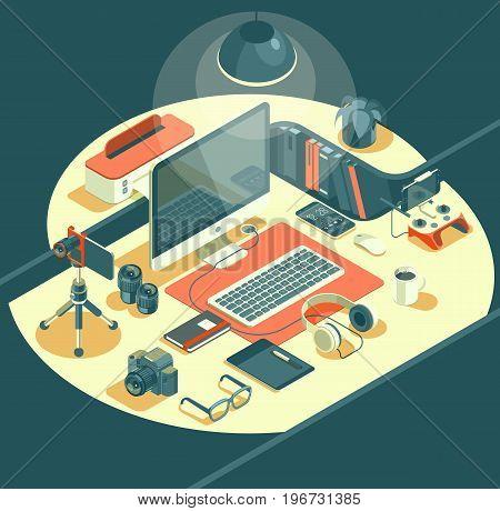Isometric 3d workspace concept vector. Devices set. Laptop, smart phone, tablet, player, desktop computer, glasses, cup of coffee, notebook, headphones.