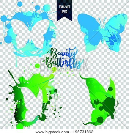 Butterfly silhouettes splash and butterfly colorful splash isolated on transparent background. Pretty vector butterfly set.