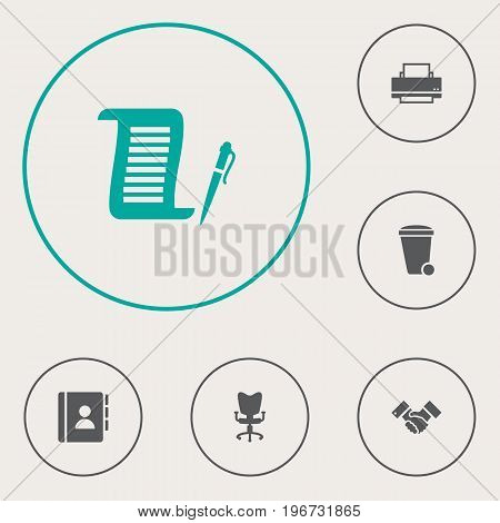 Collection Of Address Book, Contract, Trash Can And Other Elements.  Set Of 6 Bureau Icons Set.