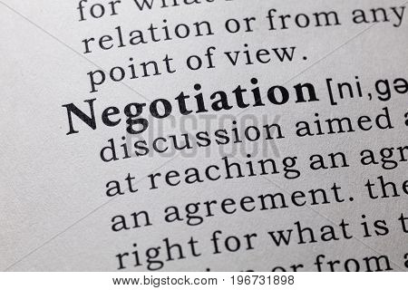 Fake Dictionary Dictionary definition of the word negotiation.