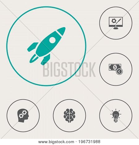 Collection Of Thinking Head, Rocket, Bulb And Other Elements.  Set Of 6 Strategy Icons Set.