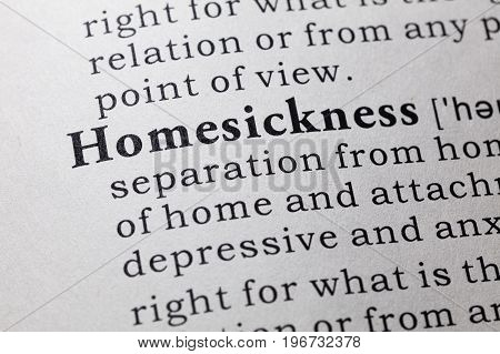 Fake Dictionary Dictionary definition of the word homesickness.