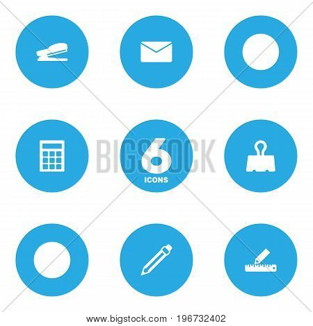 Collection Of Pencil, Mail, Drawing And Other Elements.  Set Of 6 Stationery Icons Set.