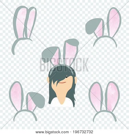Ostern rabbit ear spring hat set isolated on transparent background. Easter bunny ears mask vector illustration.
