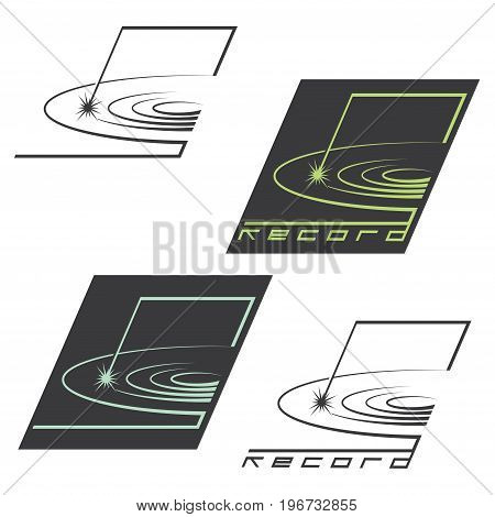 An illustration consisting of four images of recording discs in the form of a logo