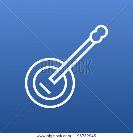 Vector Guitar  Element In Trendy Style.  Isolated Banjo Outline Symbol On Clean Background.