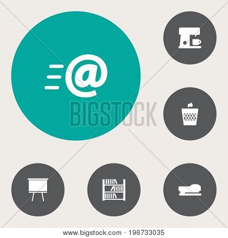 Collection Of Blackboard, Urn, Message And Other Elements.  Set Of 6 Workspace Icons Set.