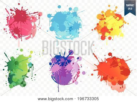 Transparent  paint splash set.Paint splat set for design use. Vector illustration.