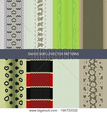set of vector graphic texture snake skin