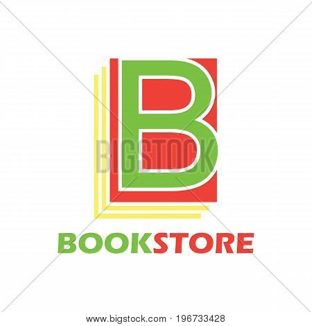 book store logo with alphabet B. vector illustration