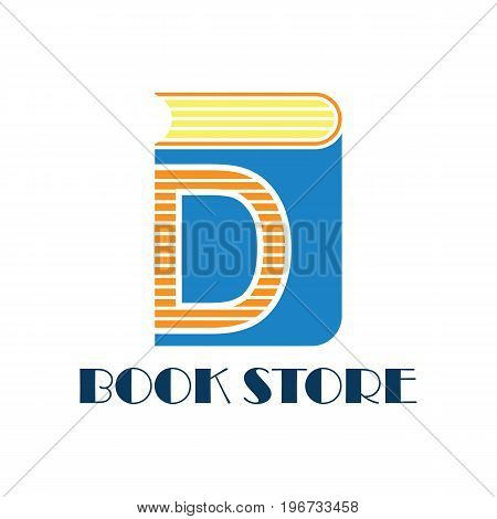 book store logo with alphabet D. vector illustration